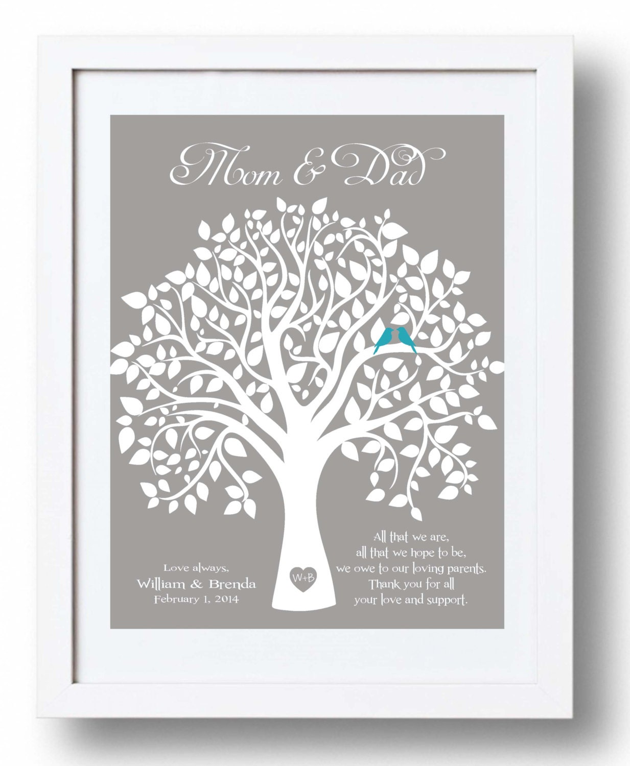 Personalised Wedding Gifts For Parents : Custom Wedding Gift for Parents from Bride and Groom Thank