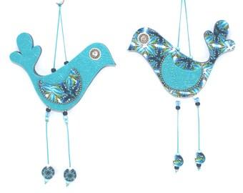 Wall decor love birds, handmade love birds, home decor ornament, Polymer clay birds, birds couple in blue and turquoise, Wedding gift