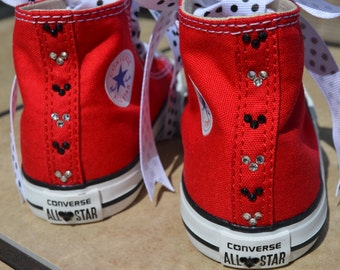 Double Mickey Crystal Converse Adult High Top Canvas Swarovski Sneaker Womens Ladies Shoe Size 5-10 Hi Lo Low Top Mouse Chuck Taylor Trainer