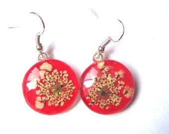 Queen Annes Lace Real Pressed Flower Red Drop Earrings