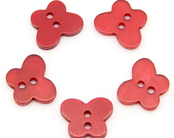Red Resin Butterfly 2 Hole Buttons for Sewing Knitting Crocheting Craft Jewelry Scrapbooking Art Clothes Pack of 10