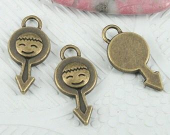 20pcs antiqued bronze color boy charms in 23mm long EF0844