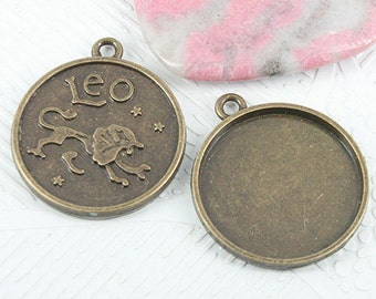 12pc antiqued bronze round Leo constellation cabochon setting EF0931