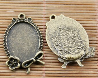 10pcs antiqued bronze color flower rim cabochon settings EF0597