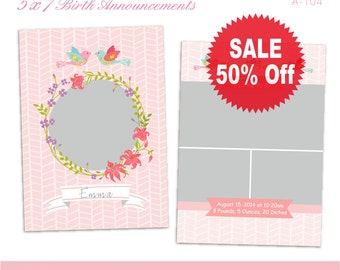 On Sale 50% Off. Birth Annoucement. 5X7 Photoshop PSD Files. For Personal and Small Commercial Use. A_104