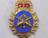 Vintage Canadian Army Land Ordinance Engineering Cap Hat Badge, 1980's