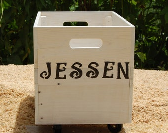 Personalized Rolling Crate from Recycled Pallet/ Wooden Crate/ Storage