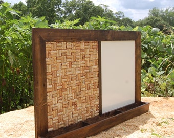 Mail Organizer/ Message Center / Mail Holder/ Recycled Wine Cork/ White Board