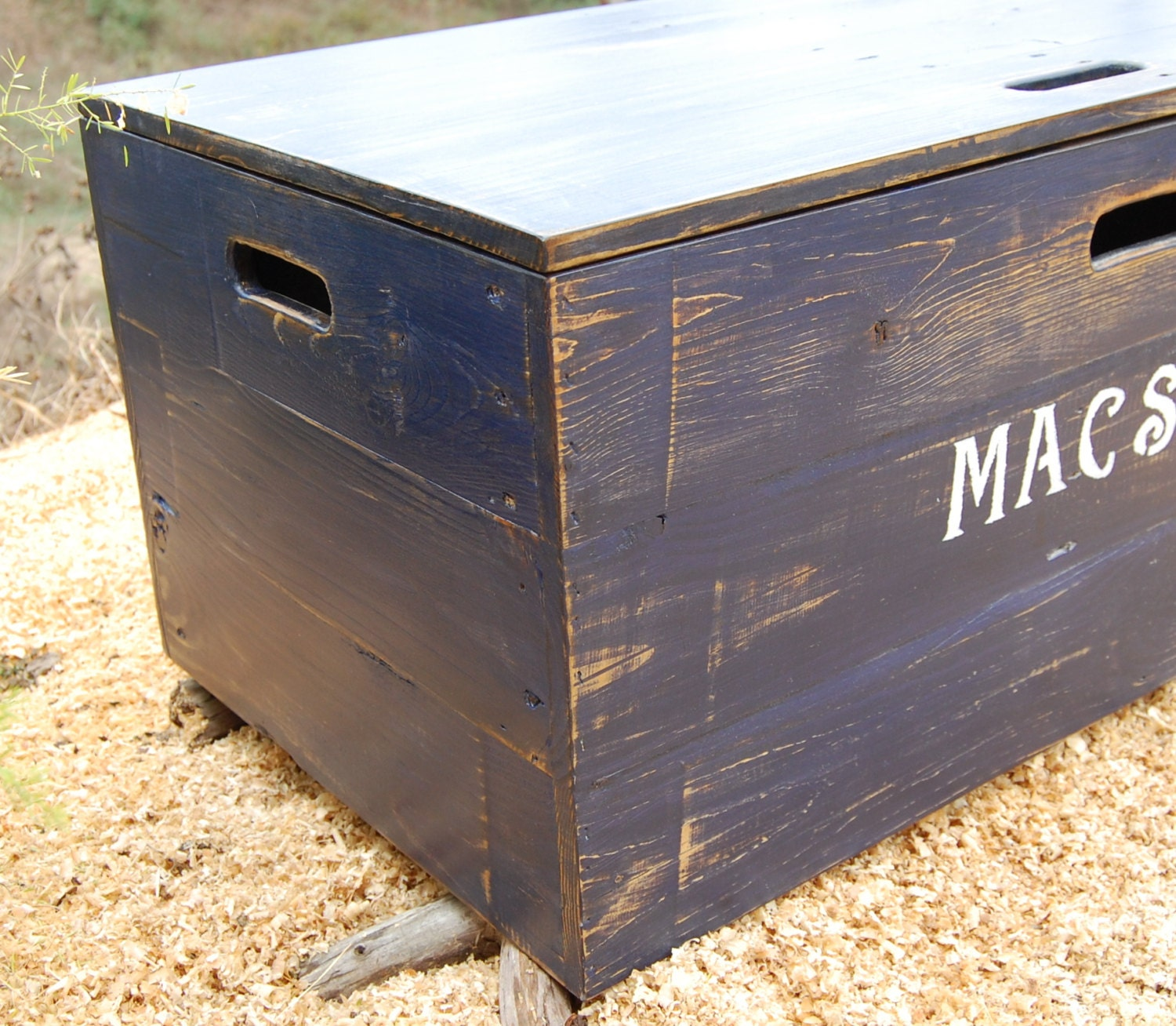 Distressed Wooden Crate Rolling Toy Chest Large Storage