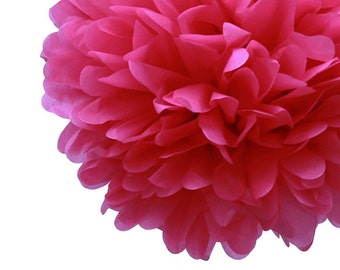 Set of 3 Hot Pink Tissue Pom Pom, Hot Pink Tissue Paper Pom Poms 14""