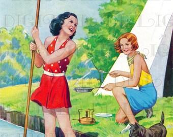 Vivid GIRLS Go CAMPING!  VINTAGE Illustration. Vintage Digital Printable Image Download. Vintage Digital Summer Fun Print.