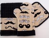 Where's My 'Stache Mustache Oven Mitt Pot Holder Set