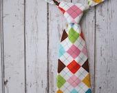 Boys Argyle Neck Tie- Toddler Easter Tie- Comfy Adjustable Velcro Strap- lime, white, aqua, pink, brown, yellow argyle