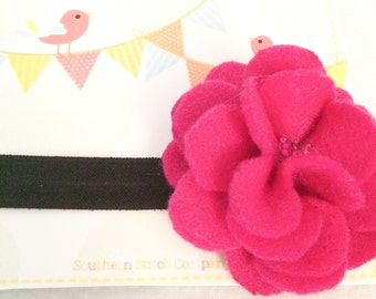 Ready To Ship - Large Pink/Black Flower Headband (Style 1)