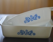 Vintage Blue Cornflower Fire King Set of Two Casserole Dishes