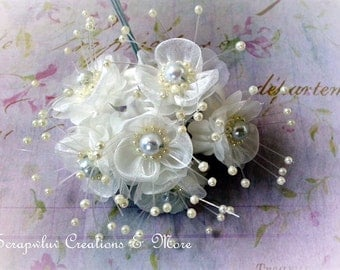 Ivory Organza Flowers with Pearls