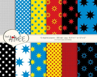 Comic Book Stars Digital Paper, Black, White, Red, Yellow and Blue, Digital Scrapbook - Group 143