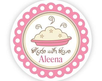 Kitchen Stickers - Pink and Brown, Apple Pie, Cherry Pie, Kitchen Made By Personalized Baking Label Stickers - 20 Round Kitchen Labels