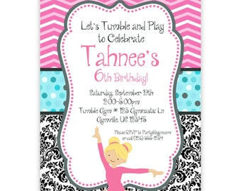 Gymnastic Invitation - Pink Chevron , Black Damask, Turquoise Dots ...