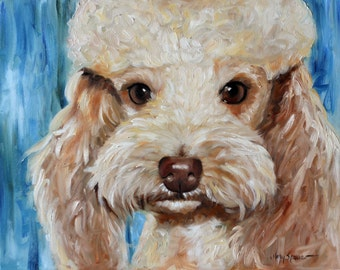 PRINT Red Apricot Poodle Dog Art Oil Painting Gift for Pet Lover by Mary Sparrow from Hanging the Moon