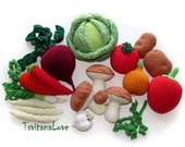 Crochet Vegetables - Set of 19 pcs - Small Scullion - Game in the kitchen - Play food