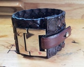 Brown Leather Basket Weave Cuff with Chrome