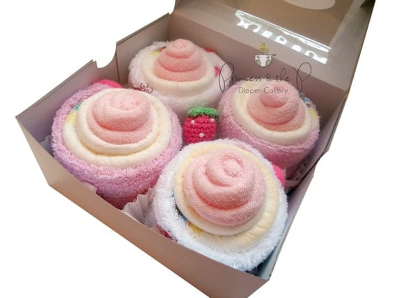 Baby Diaper Cupcakes Diaper Cake Baby by PrincessAndThePbaby