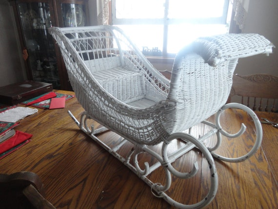 Vintage White Wicker Sleigh- contact me with your zip code for SHIPPING COST