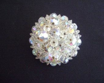 Vintage Brooch with Elegant Clear Glass Stones