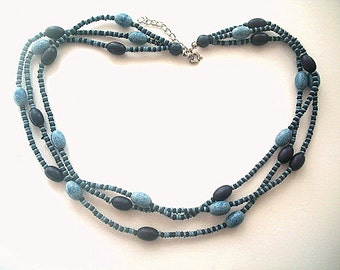 Triple Strand Necklace Denim Blue Resin Beads 18 - 20 Inches