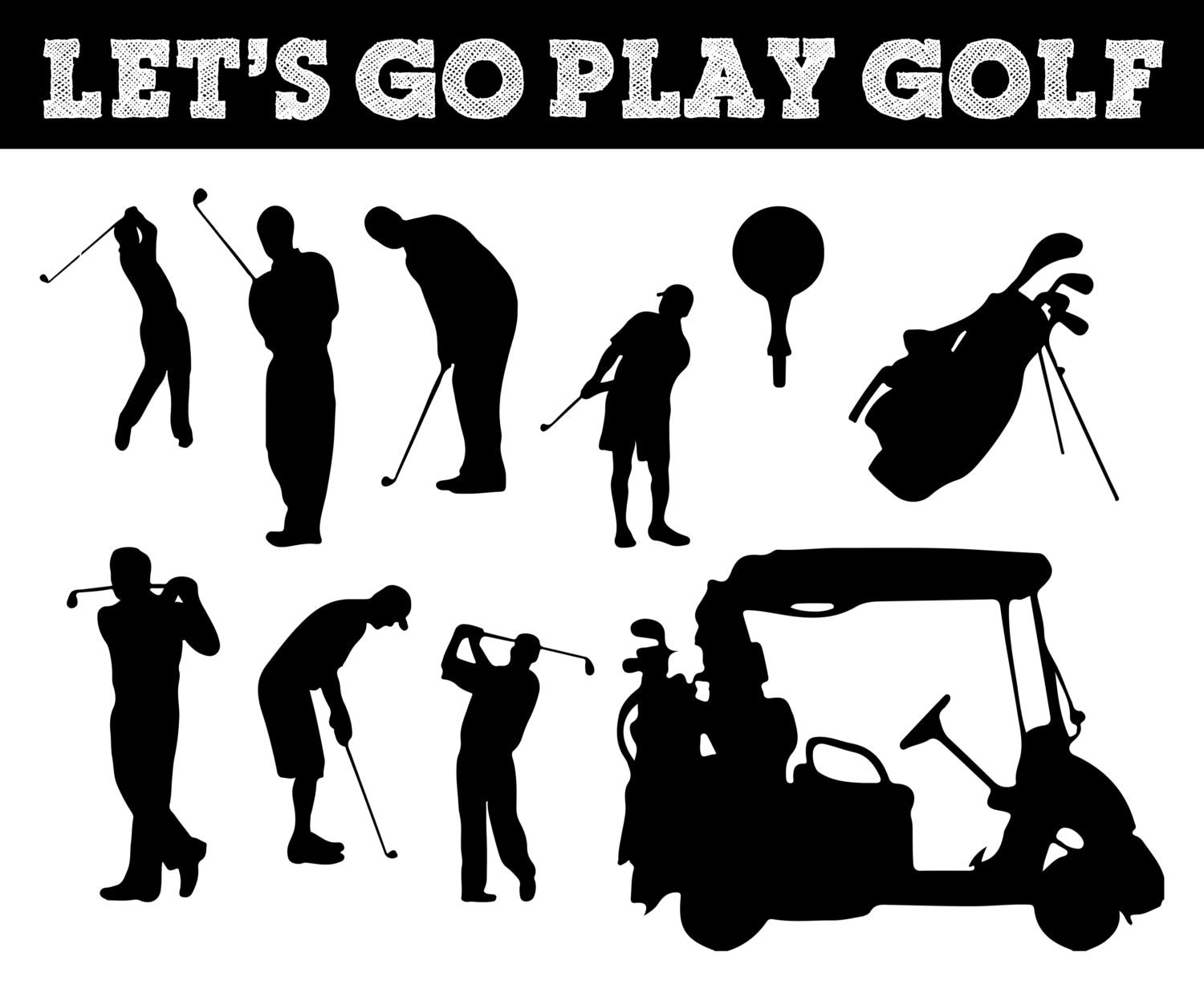 Golf Silhouettes // Golfing Silhouette // Golfer Clipart //