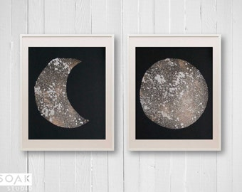 CHRISTMAS SALE Gold and Silver Moon, Galaxy Speckled Painted Moons, Single or Set, Hand Painted Lunar Prints, Metallic Gold, Hand Stencilled