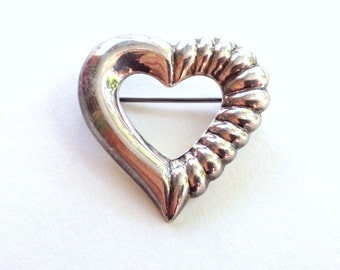 Vintage Sterling Heart Brooch 1980's Silver Pin .925 Valentine Gift