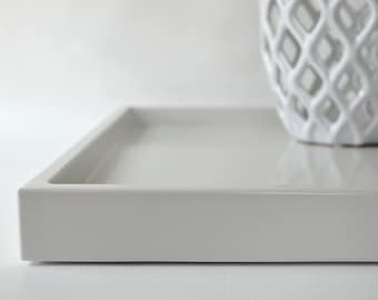 Light gray 14 x 18 shallow decorative tray lacquered wood for Shallow coffee table