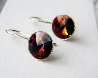 CLEARANCE Crystal Earrings Sterling Silver Swarovski Crystal Volcano Rivoli Purple Pink Copper Bridal Bridesmaid Wedding Earrings Minimalist