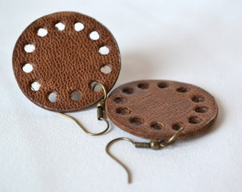 Brown leather circle earrings with antique bronze hook. Ready to ship