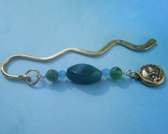 Gold, Green and Blue Beaded Bookmark