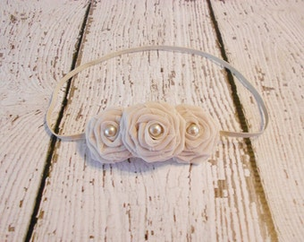 Chiffon Triple Rolled Rose Headband- Light Beige- Newborn to Adult