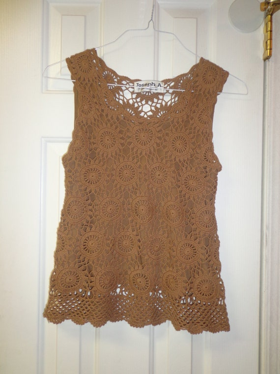 Sexy Women S Top Coco Brown Joseph A Crocheted Top With