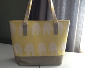 Yellow and white elephant tote with faux leather bottom