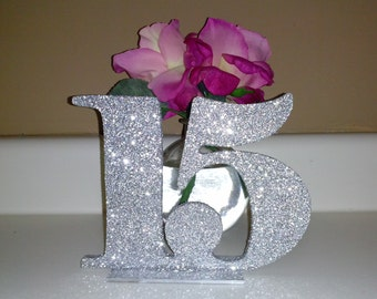 Monica*** Extra Glittered Table Numbers for Weddings and Events