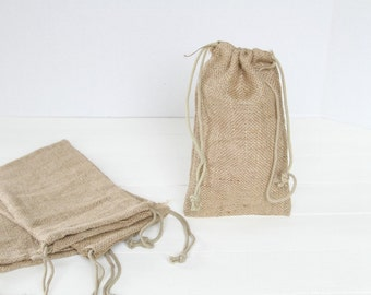 24  5 X 6 Burlap Bags with Drawstring, favor bags, wedding favor bags, birthday favors, burlap bags, Thank You Rustic Shabby Chic Candy Bags