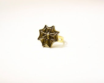 Spiderweb Ring, Antique Brass, Vintage Style, Gold Plated Base, Cabochon Flower, Birthday Gifts, Wedding Jewelry, Custom Orders Welcome