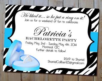 Bachelorette Party Invitation - Printable Bling Ring Bachelorette/Stagette or Bridal Shower Invitation - Choose Your Colours - SALE