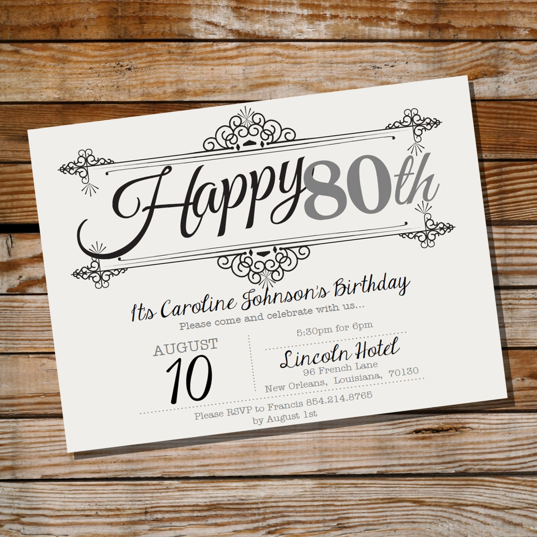 Vintage Frame Birthday Invitation 30th 40th 50th 60th 70th