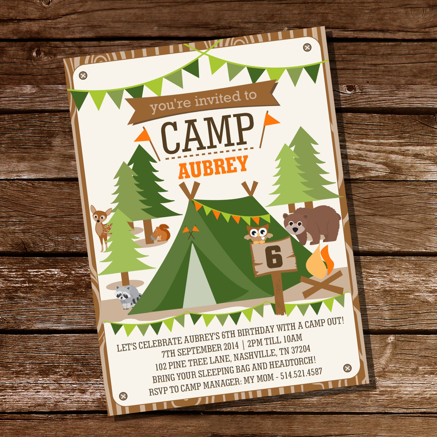 Camping Tent Party Invitation For Boys And Girls Camp Out
