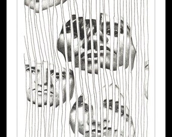 """Black and White Print: """"Captured Too"""" - Black and white print of original collage featuring strips of three faces behind bars of a cage. A5"""
