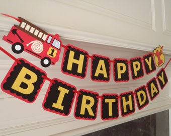 Fire Truck Birthday Banner for Firetruck Party Decorations with Age and Custom Name Option by Feisty Farmers Wife