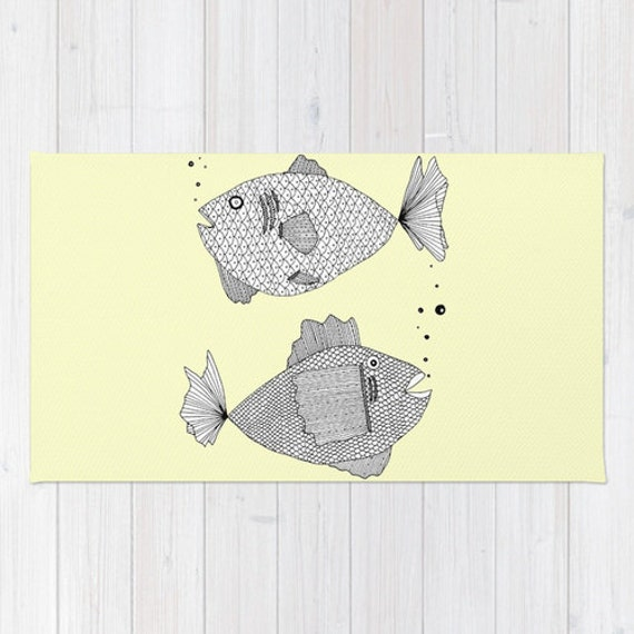 Yellow fish rug yellow rug fish bath mat yellow bath mat for Fish bath rug