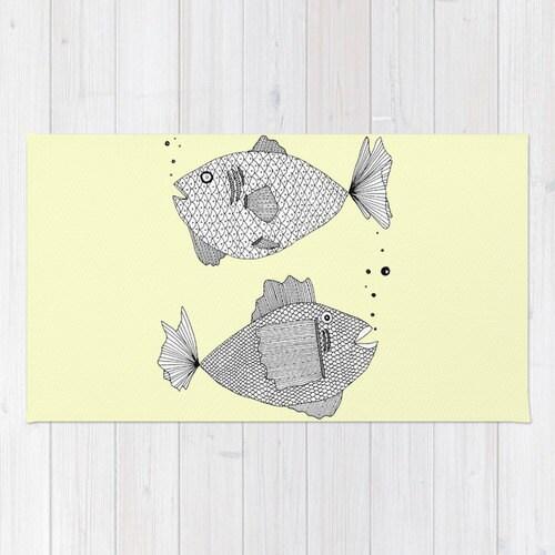 Yellow Fish Rug Yellow Rug Fish Bath Mat Yellow Bath Mat